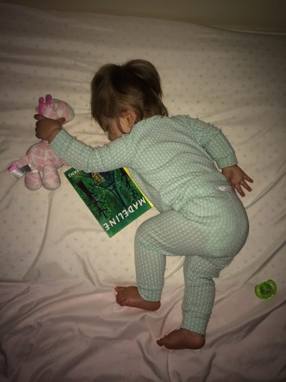 Madelyn Sleeping with the Madeline book